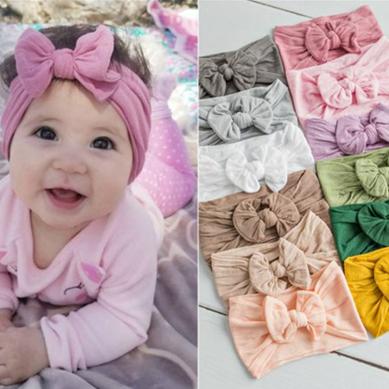 Girls Baby Toddler Headband Top Knot Fabric Hair Bow Band Turban Accessory G