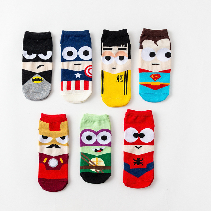Super Hero Summer Women Cute Socks Superman Captain Iron Man Bruce Lee Pattern Harajuku Invisible Cotton Unisex Happy Funny Sock