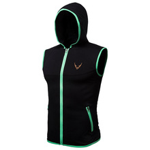 New Solid Color Vest Mens Fashion Sleeveless Hoodie Open Jacket Zipper Pocket Clothing