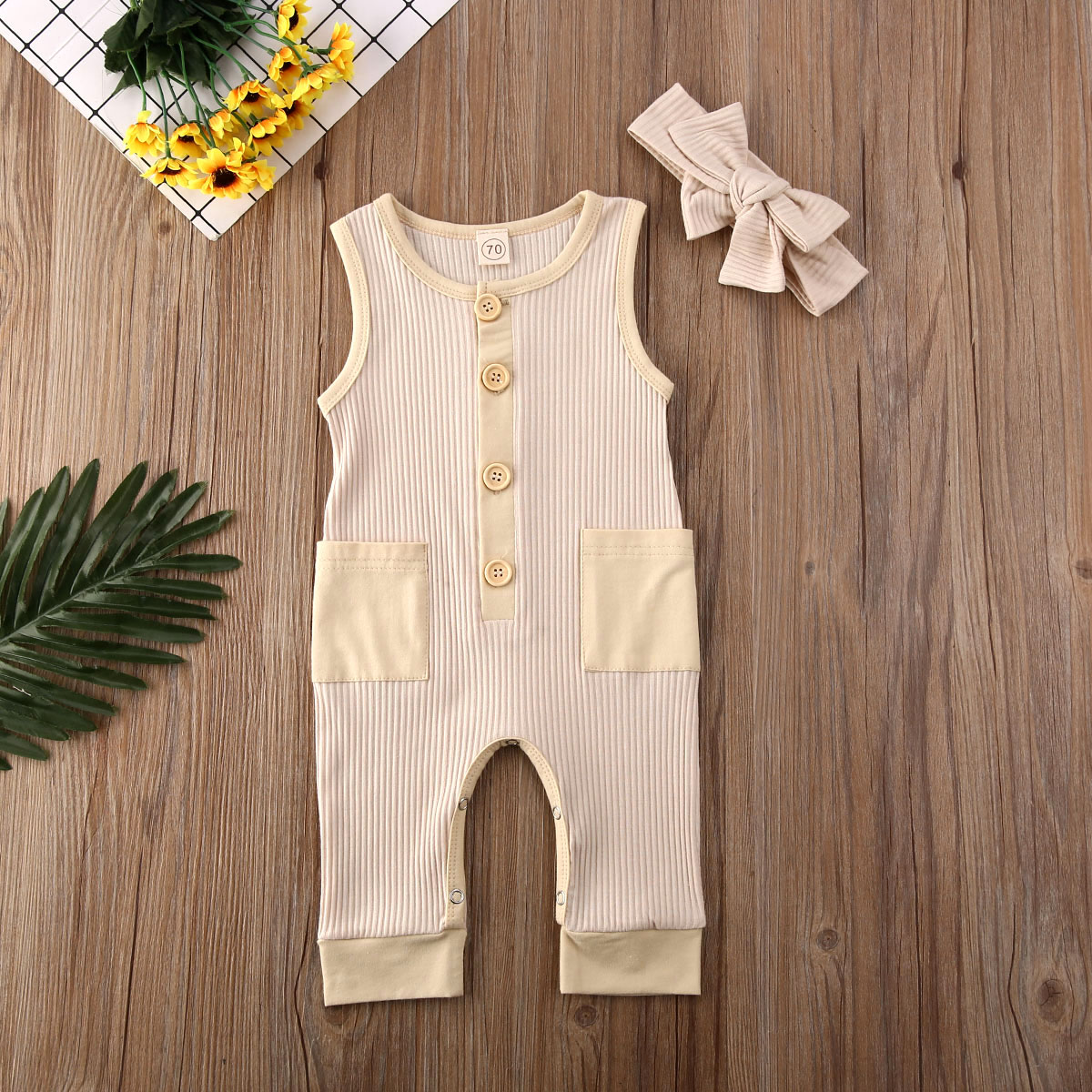 US 2PCS Newborn Baby Girl Boy Clothes Knitted Romper Jumpsuit Solid Outfits Set