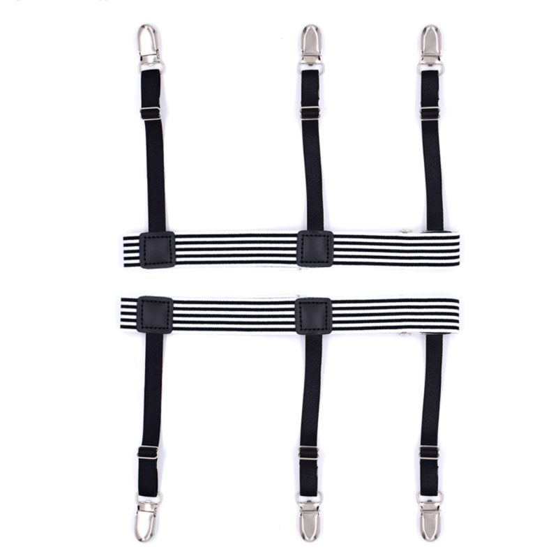 2Pcs Men Shirt Belt Non-slip Clips Stripe Keep Remains Leg Thigh Garters Suspend
