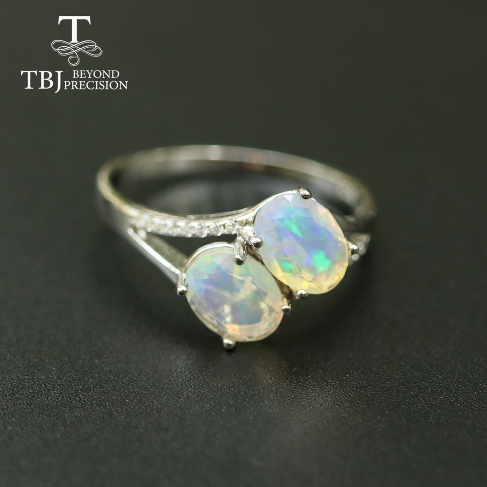 Opal Ring natural gemstone oval 6*8mm,solid 925 sterling silver  simple design fine jewelry Christmas for women,wife nice giftRings   -