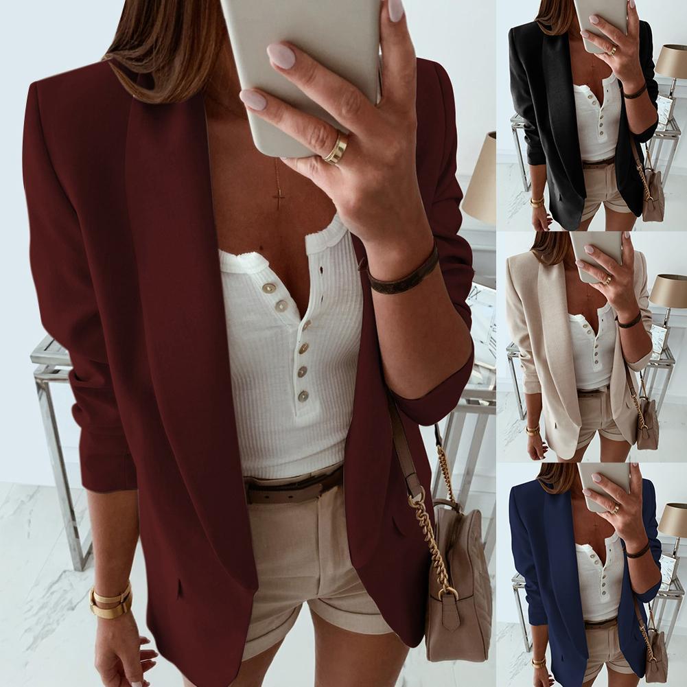 Women Solid Color Lapel Long Sleeve Blazer Pockets Slim Cardigan Suit Jacket New Chic
