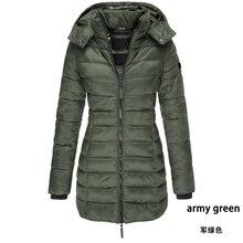 Zogaa 2019 mulheres parkas inverno com capuz casaco quente cor sólida fino algodão acolchoado jaqueta feminina longo parka wadded feminina