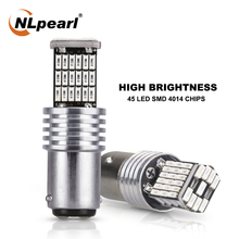 цена на NLpearl 2x Signal Lamp 1157 Bay15d Led Bulbs 45SMD 4014 Chips P21/5w LED Car Turn Signal Light Brake Parking Reverse Light 12V