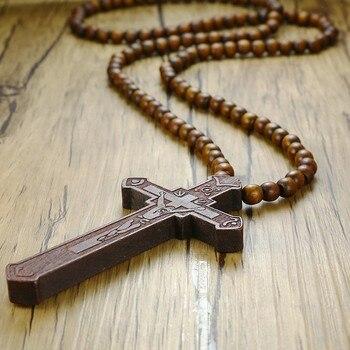 Collar de Rosario largo Vnox de 36 pulgadas, colgante grande de cruz de Jesucristo de madera con cuentas de madera, cadena de suéter, collar masculino, joya de declaración
