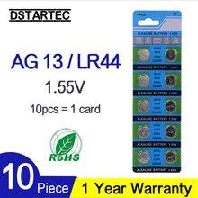 10 шт. кнопочная Батарея 1,55 V AG13 LR44 L1154 SR47 SG13 SR1154 SP76 пила SR44 G13A G13 AG 13 щелочные батареи таблеточного батарейки-таблетки