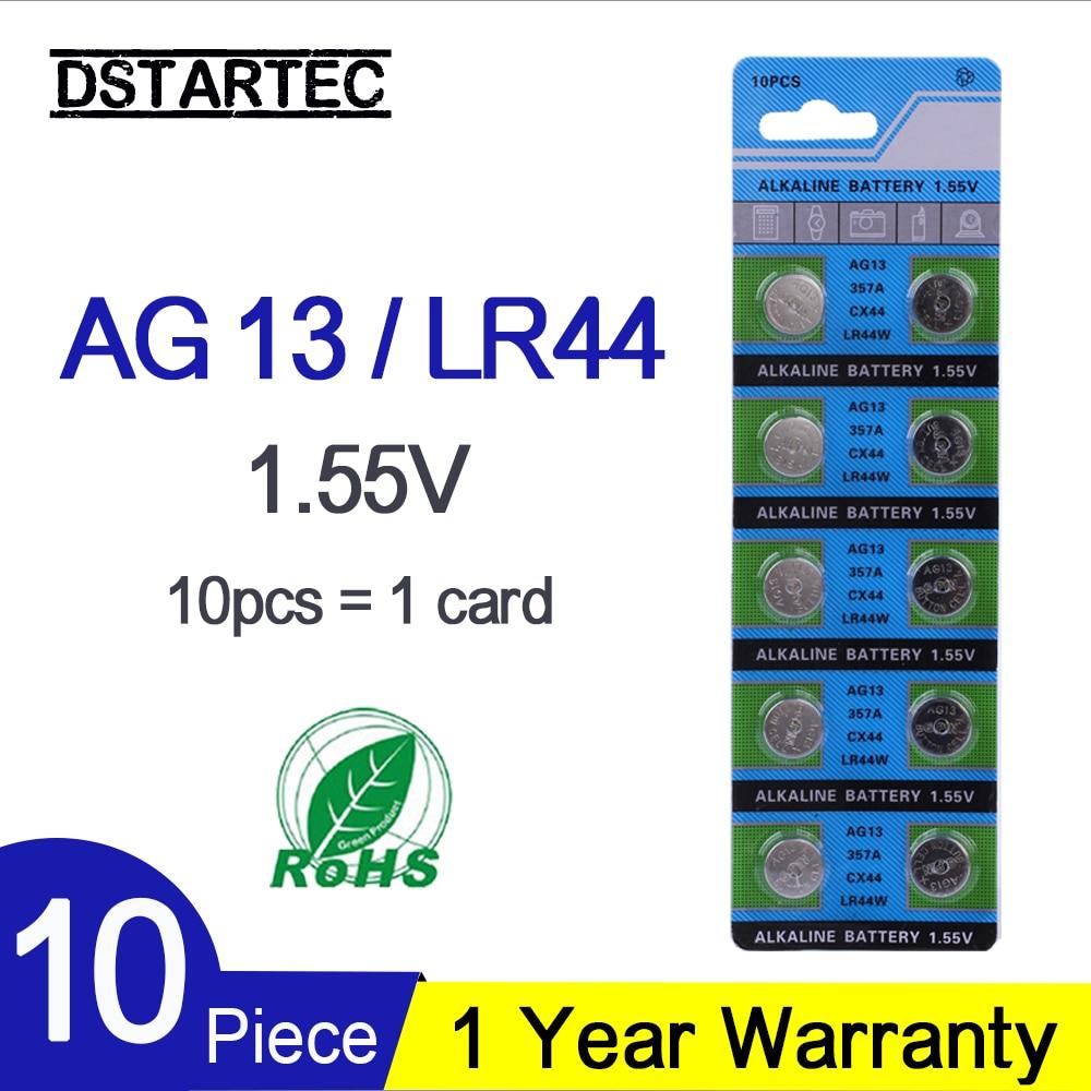 10PCS Button Battery 1.55V AG13 LR44 L1154 SR47 SG13 SR1154 SP76 Pila SR44 G13A G13 AG 13 Alkaline Button Cell Coin Batteries