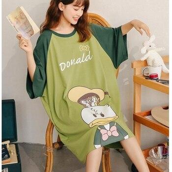 Vestido de noche de mujer de algodón de verano de manga corta de dibujos animados camisón suelto delgado de verano de gran tamaño home skirt casual moda badjas