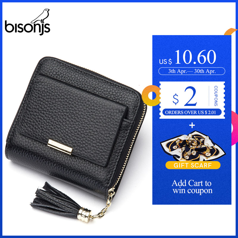 BISONJS 100% Leather Women's Purse Zipper Coin Pocket Wallet Card Holder Female Money Bag Small Carteira Feminina B3276