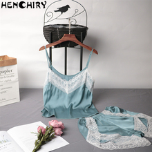 HENCHIRY new lace sexy womens nightwear women Lace luxury strap shorts skirt pajamas two-piece ice silk clothes female