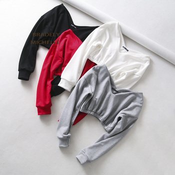 BRADELY MICHELLE women sexy sweatshirt streetwear hoodies hip pop crop top female long sleeve deep v-neck pullovers 1