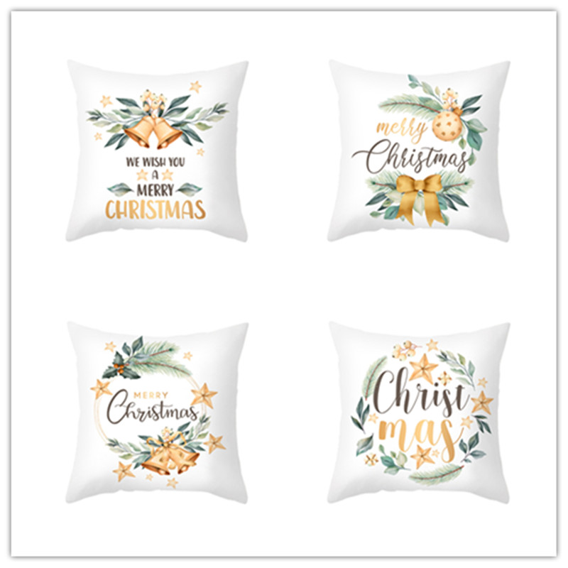 2021 New Year Christmas Cushion Cover Sofa Seat Covers Car 45x45cm christmas decorations for home decor kerst natal