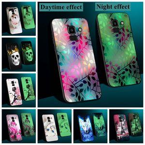 Luminous Case For Samsung Galaxy A10 A20 A30 A40 A50 A60 A70 Cover For Samsung Galaxy A6 A7 A750 2018 Leather Funda Glow Case(China)