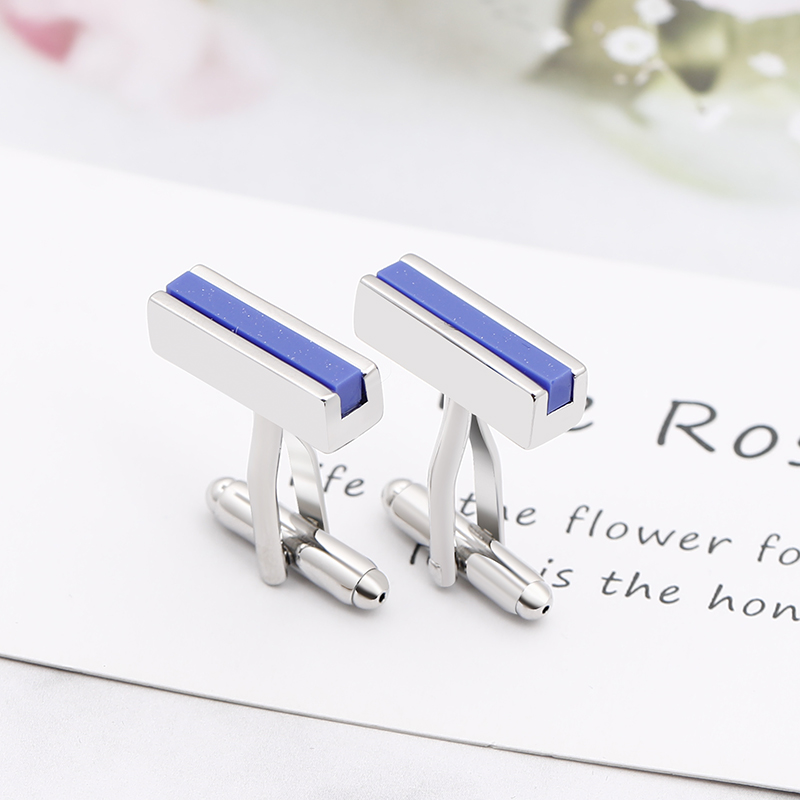 Zhijia Fashion Simple Black/blue Rectangle Men's Business Style Cufflinks Suit Jewelry Accessories New Arrival