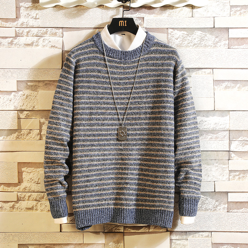 Fashion Classic O-NECK Striped Sweater Men'S Oversize Pull Plus Size M-5XL 2019 Long Sleeves Pullover For Spring Winter