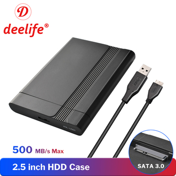Deelife 2.5 inch HDD Case for Hard Drive Box SSD SATA to USB 3.0 Notebook Laptop HD External Hard Disk Enclosure