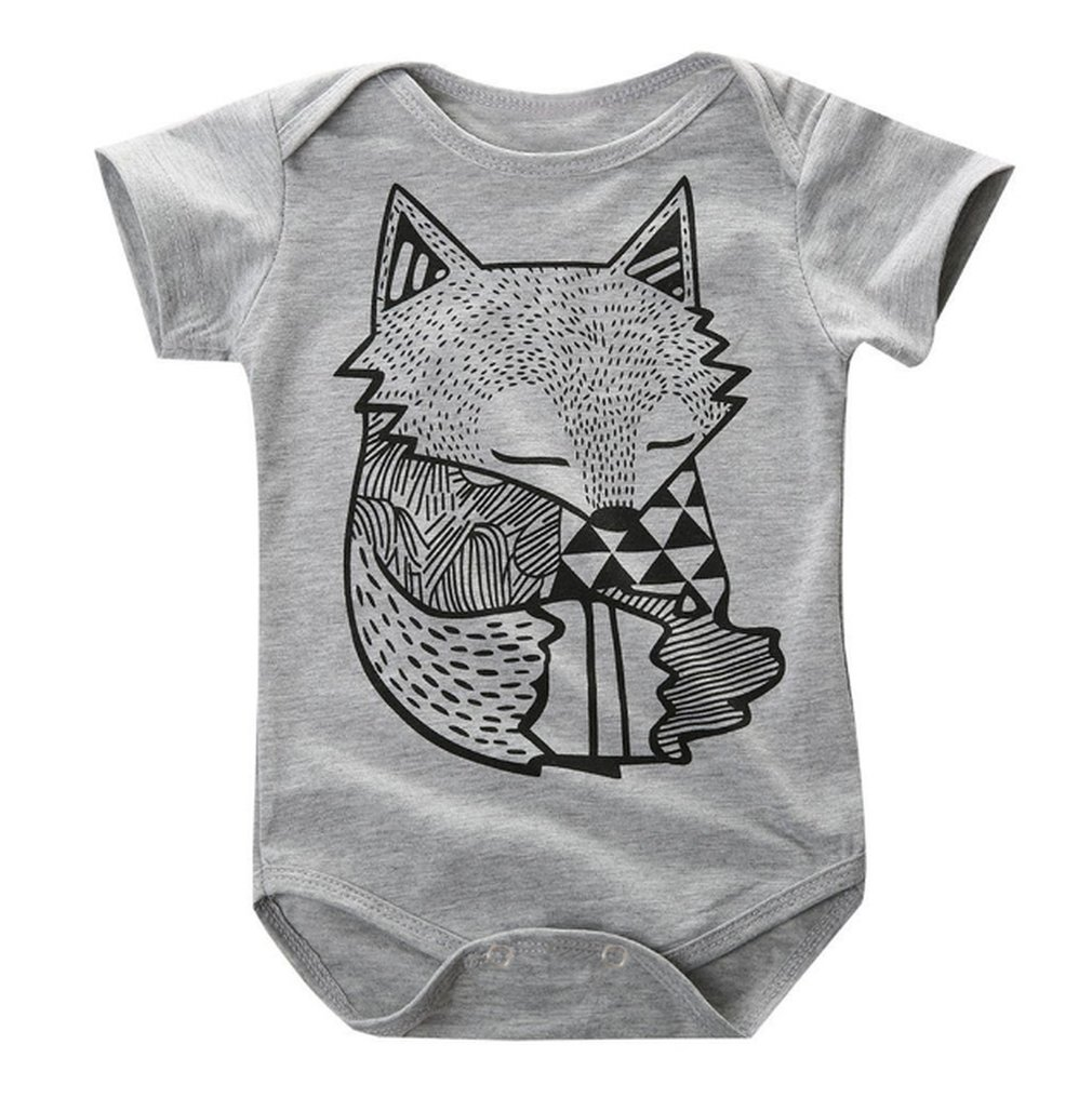 Summer Cotton Baby Short Sleeve Romper Fox Pattern Printed Boys Girls Bodysuit Fashion O-Neck Infant Romper Unisex Clothes