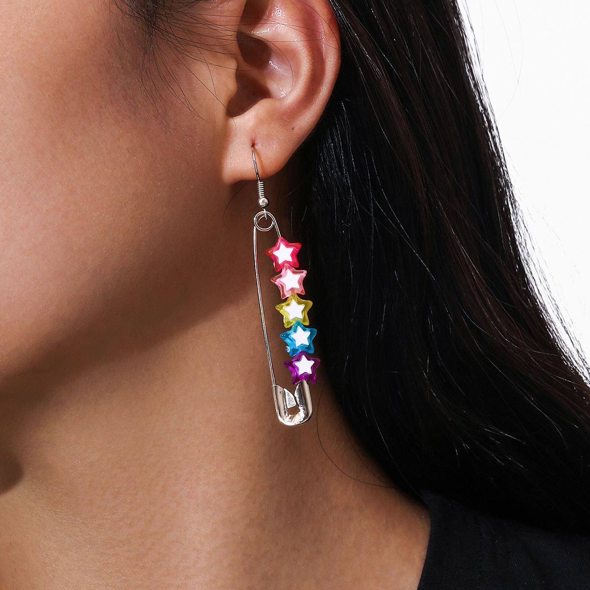 European and American jewelry with personality fashion jewelry with multicolored resin five-star star pin tassel earrings