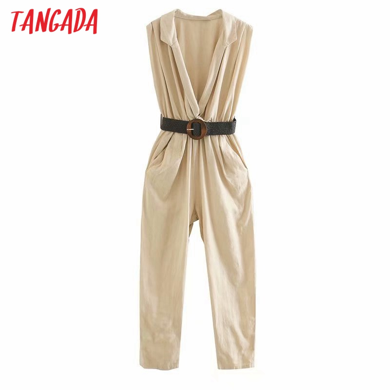 Tangada Women summer cotton linen jumpsuit with belt Sleeveless pocket strethy waist female casual Jumpsuit 5Z198