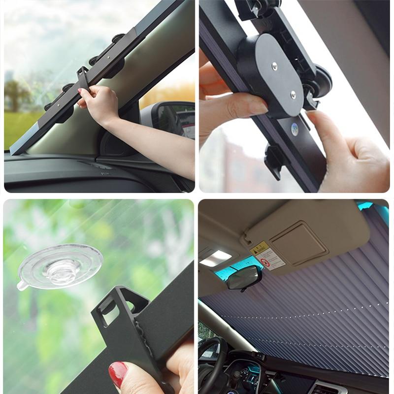 Universal Car Retractable Foldable Sun Shield Windshield Sunshade Cover Shield Curtain Auto Sun Shade Block Car Window Shade 4