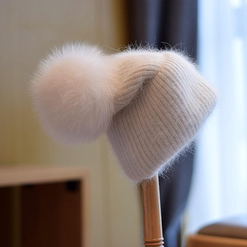 2021 New Winter Women Hat Fox Fur Ball Double-Layer Warm Curly Knitted Hat Ski Hat Hiking Caps Wool Cap Rabbit Fur