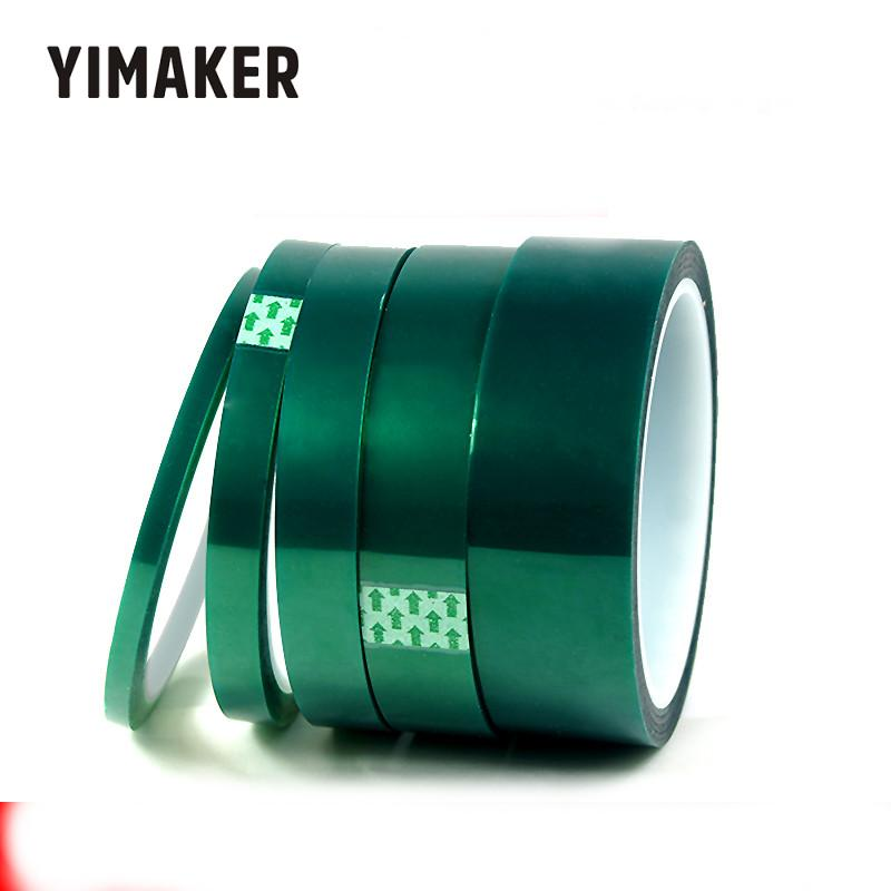 YIMAKER 1Psc 33M Heat Resistant Polyimide Tape Adhesive Tapes Green 5-30MM