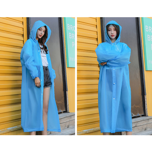 Rain Coat EVA Rain Poncho for Women and Men Emergency Rain Gear Jacket for Theme Park Hiking Camping CLH@8 5