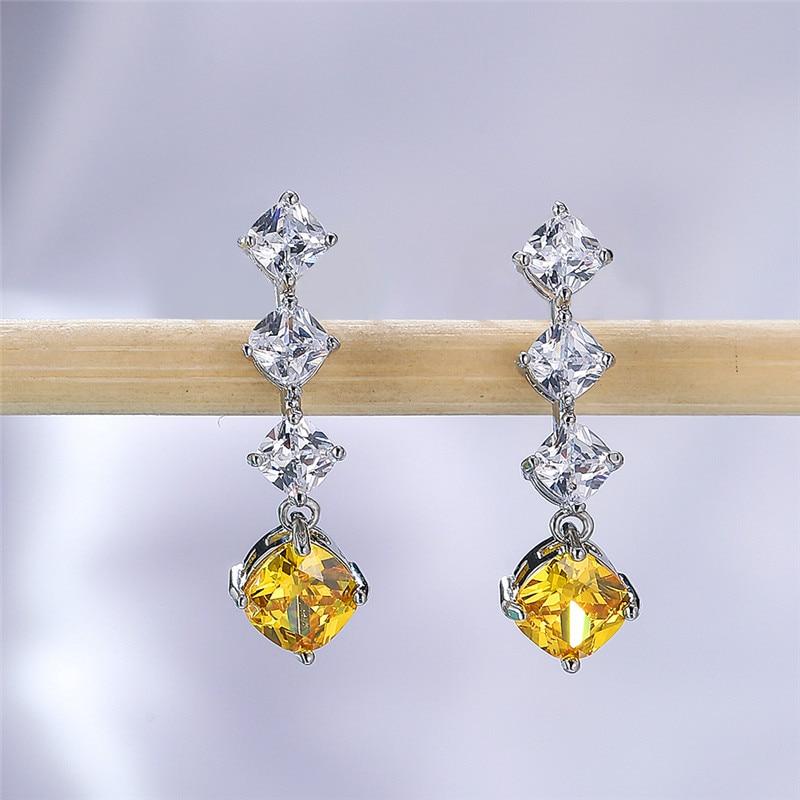 Vintage Female Green Crystal Drop Earrings Classic Silver Color Dangle Earrings Trendy Rainbow Square Wedding Earrings For Women