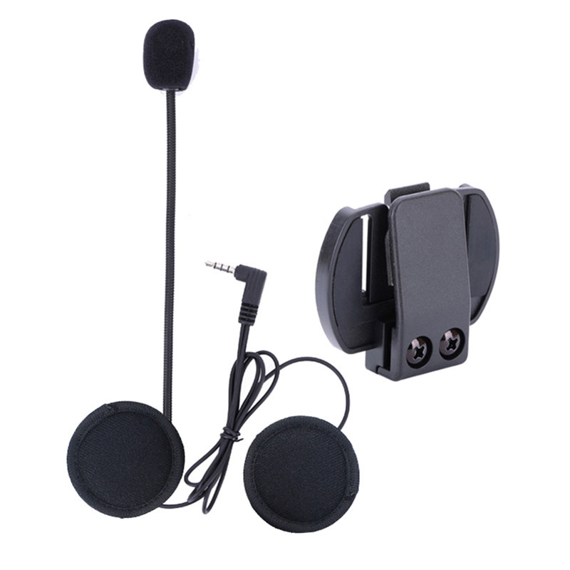 <font><b>V6</b></font> Accessories Microphone Speaker & Clip ONLY Suit for <font><b>V6</b></font>-1200 Helmet Intercom Motorcycle <font><b>Bluetooth</b></font> interphone 3.5mm Jack Plug image