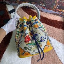 купить Luxury Brand Ethnic Style Bucket Bag Genuine Cow Leather Shoulder Bags Women Famous Designer Flowers Printed Bags Sac Crossbody дешево