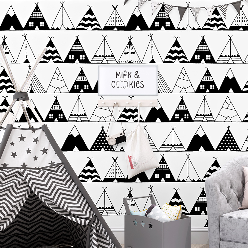 Concise Style Black And White Triangle Geometric Wallpaper Child Room Student Dormitory Bed Desk Background Home Decor Wallpaper