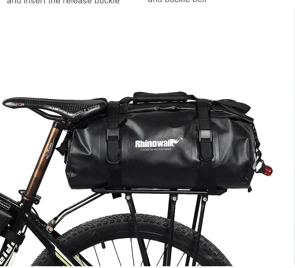 Rhinowalk Bicycle Luggage Bags 20L Full Waterproof for Road Bike Rear Rack Trunk Cycling Saddle Storage Pannier Multi Travel Bag (22)