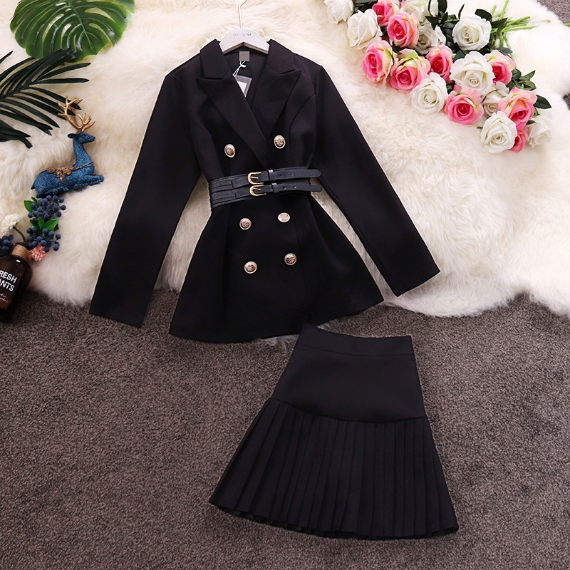 2019 Early Autumn New OL Temperament Suit Collar Long-sleeved Waist Windbreaker Jacket Pleated Skirt Set  High Street