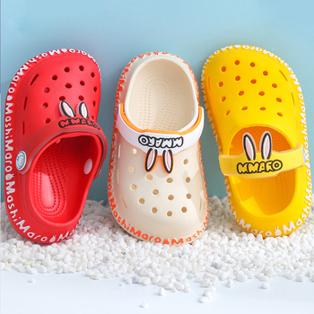 Children Garden Shoes Cartoon Rabbit Ear Pattern Croc Summer Slippers For Kids Boys Girls Comfortable Non Slip Hollow Beach Shoe