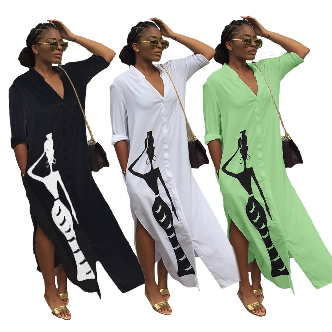 2019 Autumn Elegent Fashion Style V-neck African Women Printing Plus Size Long Shirt Dress S-3XL