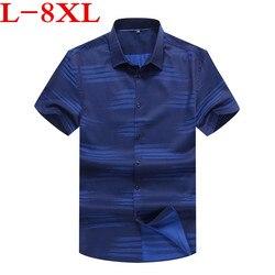 Nuevo Modelo de camisa de carga para hombre, camisa Casual de manga corta, camisa de trabajo de talla grande 8XL 7XL 6XL 100% de algodón