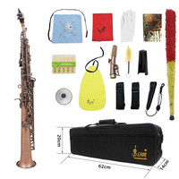 LADE WSS 899 Professional Red Bronze Straight Bb Soprano Saxophone Sax Woodwind Instrument Abalone Shell Key Carve Pattern