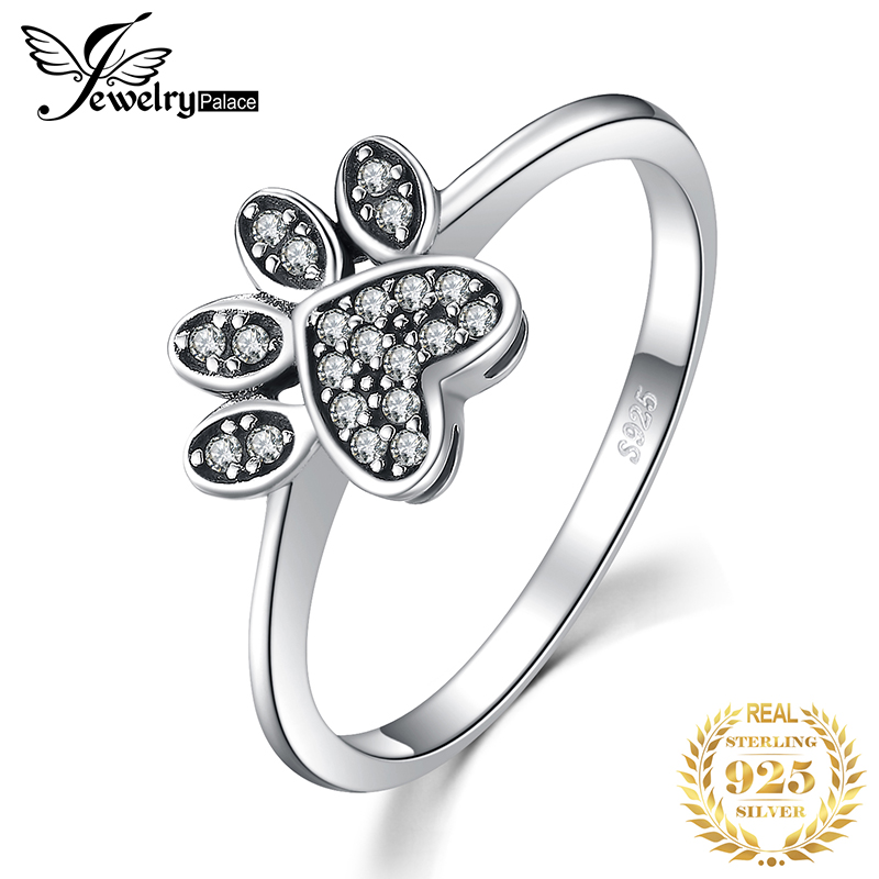 JewelryPalace Dog Paw Cubic Zirconia Rings 925 Sterling Silver Rings For Women Stackable Ring Silver 925 Jewelry Fine Jewelry