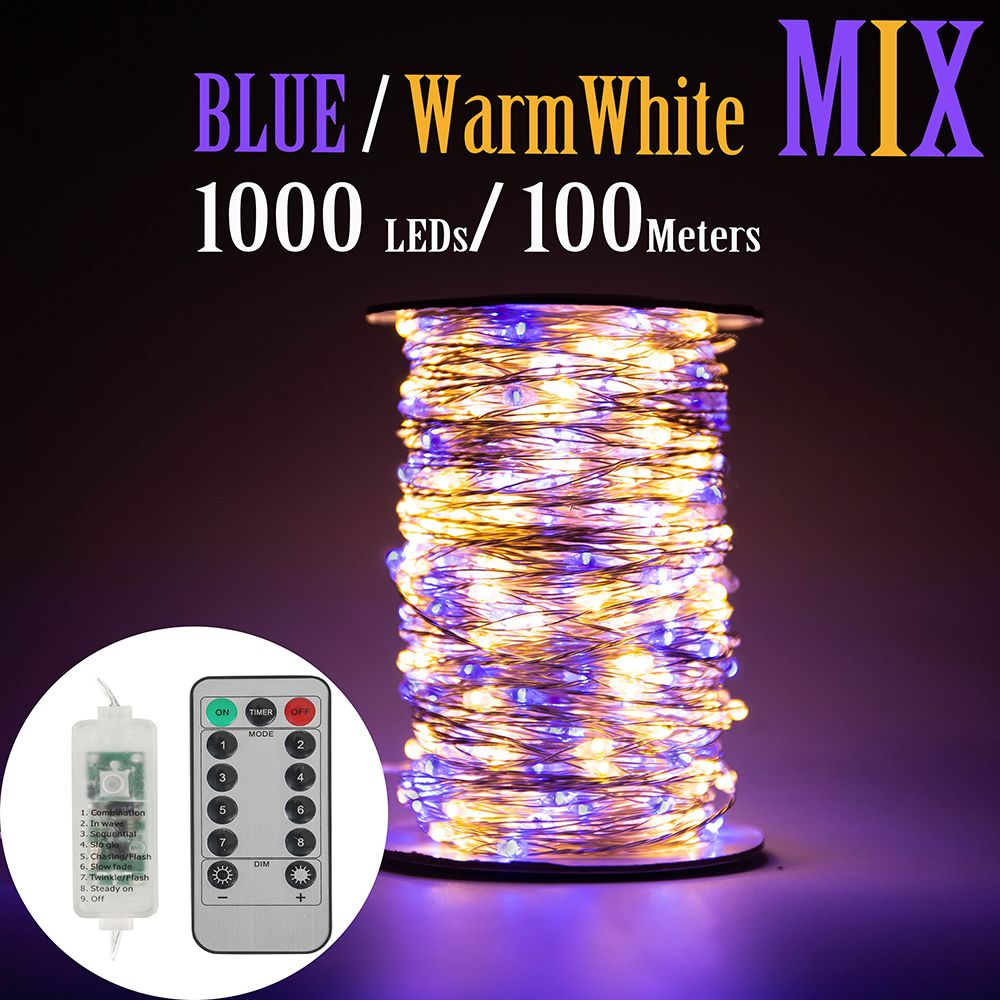 50M 1000 LED Silver Wire Fairy string Lights Blue Warm White Wateproof Adapter for Tree Outdoor Christmas Holiday Decoration