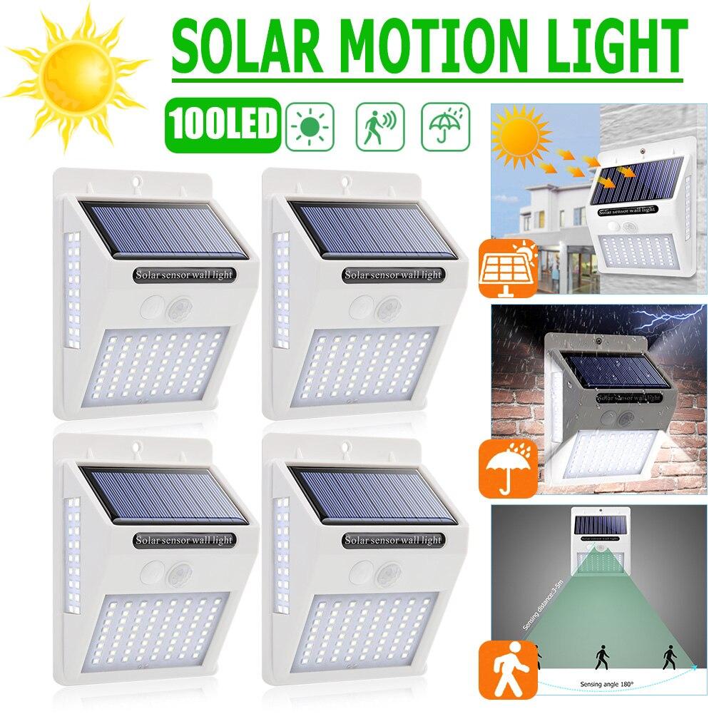 New White Shell 100 LED Solar Light PIR Motion Sensor Wall Lamp Outdoor Waterproof Garden Decorative Lighting Street Light