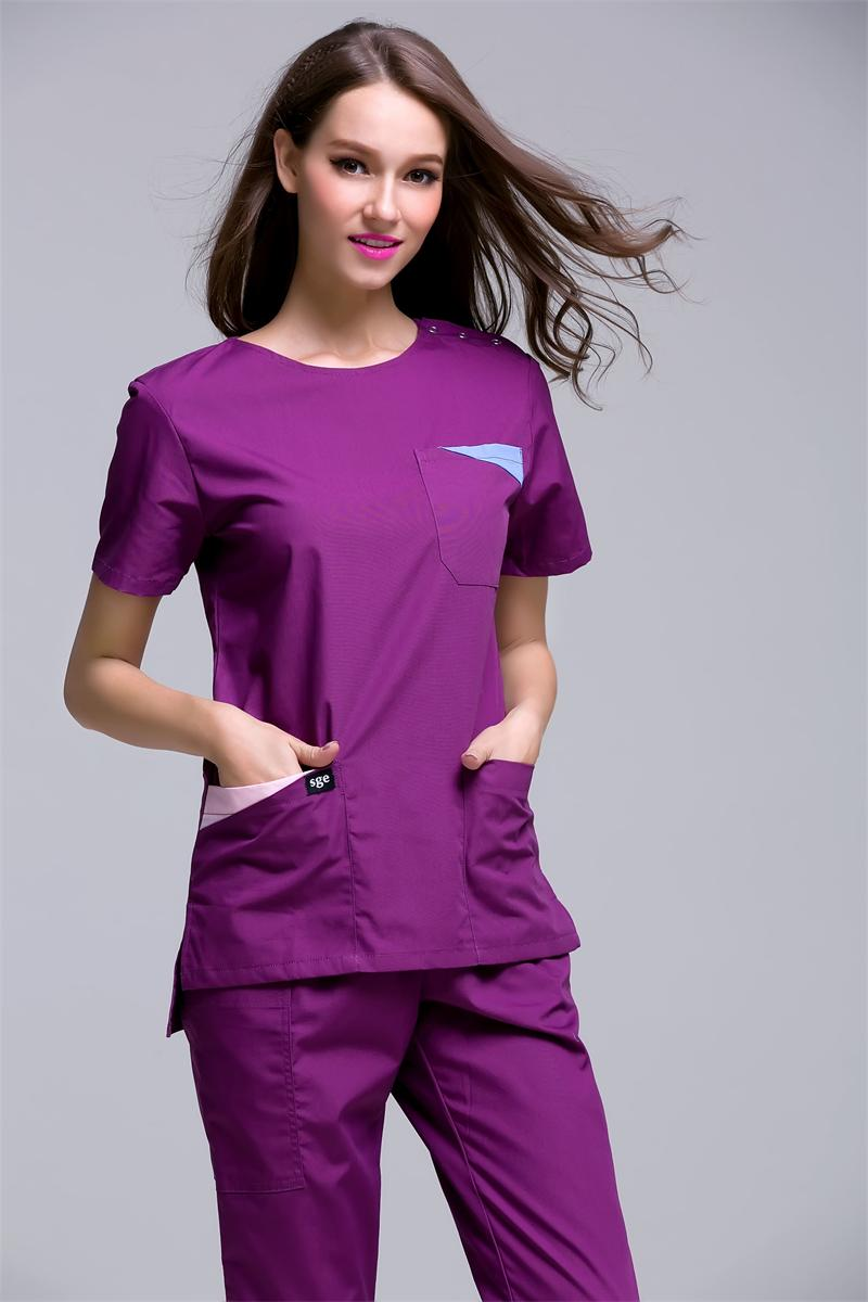 2020 Korea Style Women's Summer Short Sleeve Open Shoulder Round Neck Hospital Surgical Or Medical Scrub Clothes Sets Uniforms