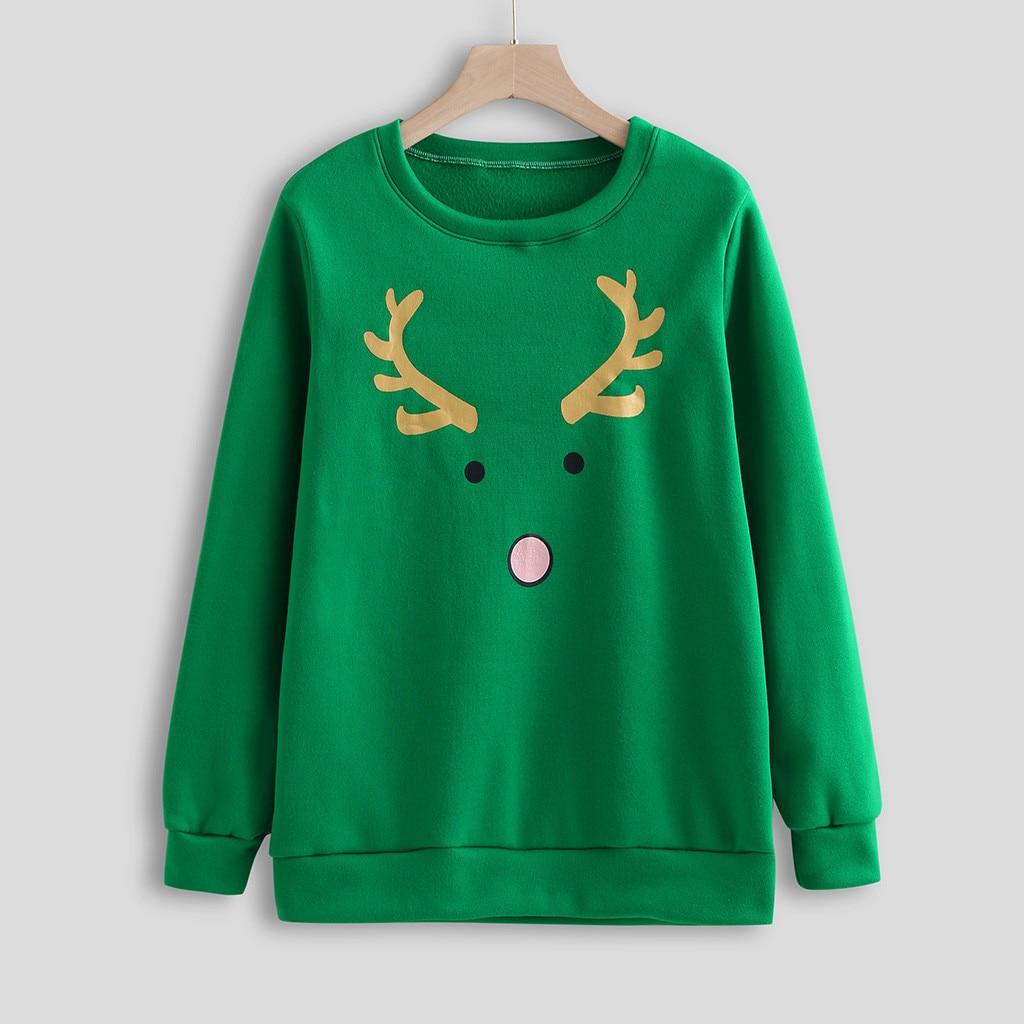 Hoodies Women Long Sleeve Elk Print Round-Neck Christmas Clothing Ladies Sweatshirts Plus Size Femma Casual Holiday Wear