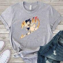 Szary Tee topy kobiety bajkowy Anime T Shirt 2020 letnie ubrania z krótkim rękawem 90s dziewczyny t-shirty Damskie mężczyźni Top koszula Harajuku