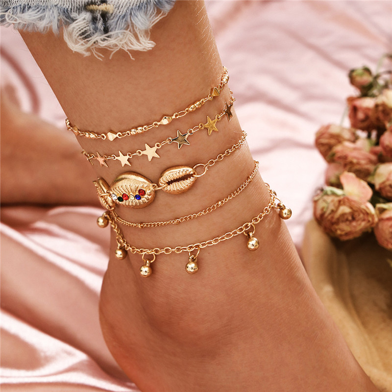 Best Seller 5Pcs/Set Vintage Boho Gold Chain Anklets Fashion Shell Star Beads Leg Bracelet Foot Jewelry Summer Gift Accessories
