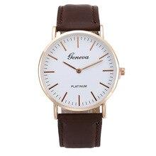 Geneva Hot Selling Ultra-Thin Belt Watch Casual Fashion Two Needle MEN'S Watch Ladies' Watch Students Quartz Watch