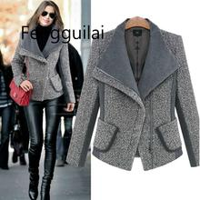 цена на FENGGUILAI Autumn Winter Chic Grey Black Lapel Oblique Zipper Coat Woolen Jacket Cardigan Turn Down Collar Slim Outwear 2019 Top