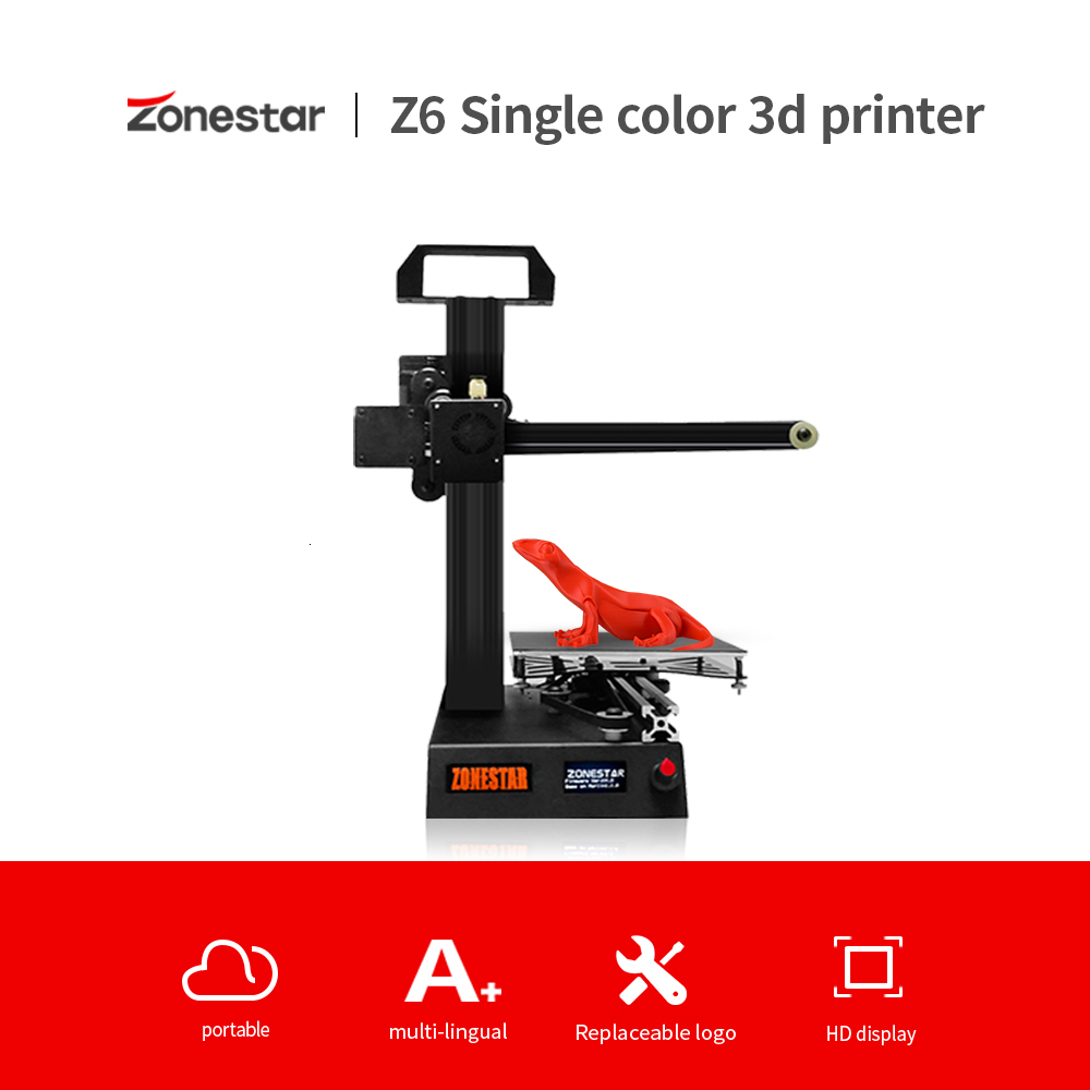 ZONESTAR Dello Studente Mini 3D Stampante Stampante 1.75 millimetri 0.4 millimetri Ugello Filamento 3D Kit FAI DA TE Completo del Metallo Telaio In Alluminio 3d stampante