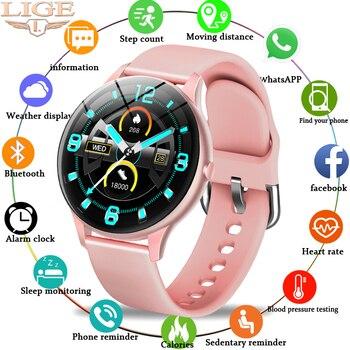LIGE-reloj inteligente para hombre y mujer, deportivo, resistente al agua, con pantalla táctil con frecuencia cardíaca y control de la presión sanguínea