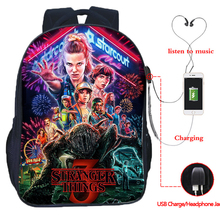 Stranger Things 3 multifunction USB charging school bags students boys girls laptop backpack backpack for teenagers travel bags diomo school bag stripes canvas backpack schoolbags stylish students school backpack for girls travel bags usb charging port